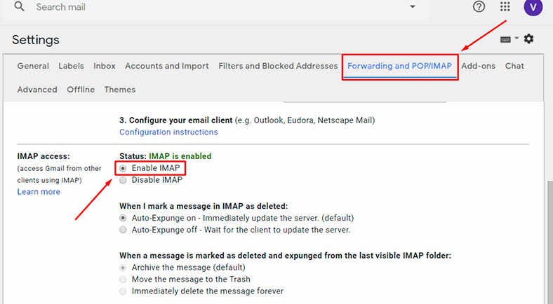 GMvault. Forwarding and POP / IMAP