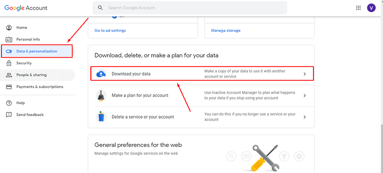 Google Takeout. Download your data