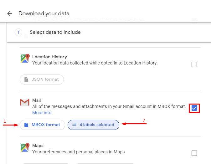 Google Takeout. Select data to include