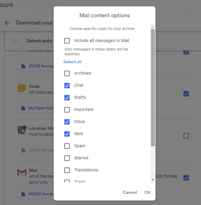 Google Takeout. Check the boxes next to the shortcuts you need