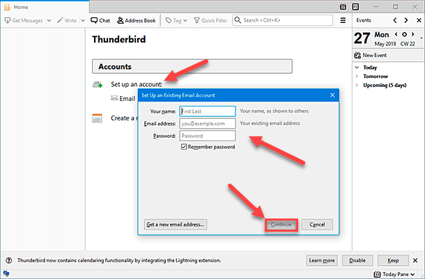 Mozilla Thunderbird. Set up an account