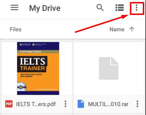 Google Drive App. My Drive menu button