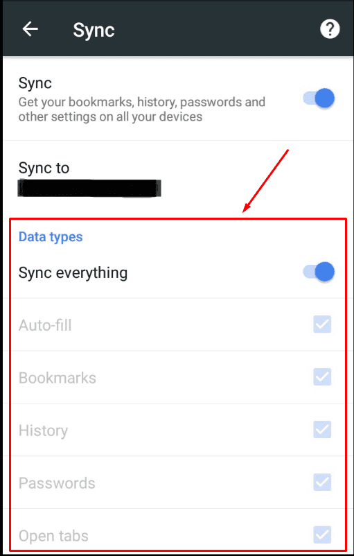 Google Chrome App. The types of data which is currently synced.