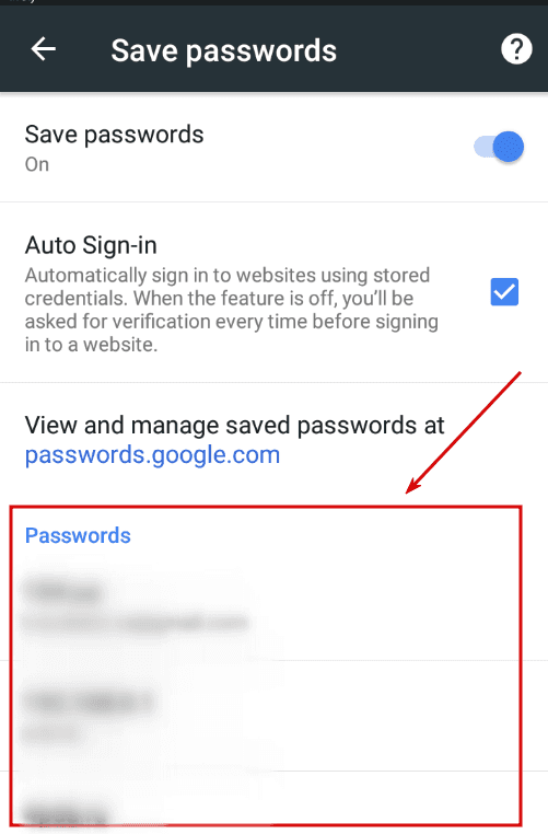 Google Chrome App. The list of saved passphrases
