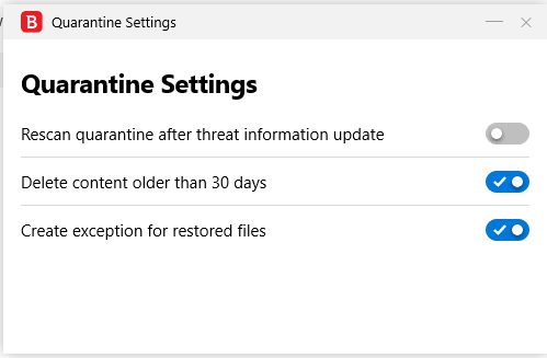 Bitdefender. Quarantine Settings