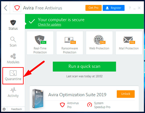 Recover deleted files from the quarantine of an antivirus