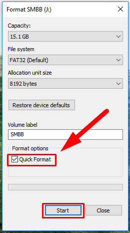 Enable quick format by checking the box for Quick format