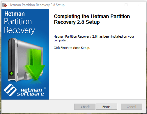Download a setup file for Hetman Partition Recovery and launch it on your computer