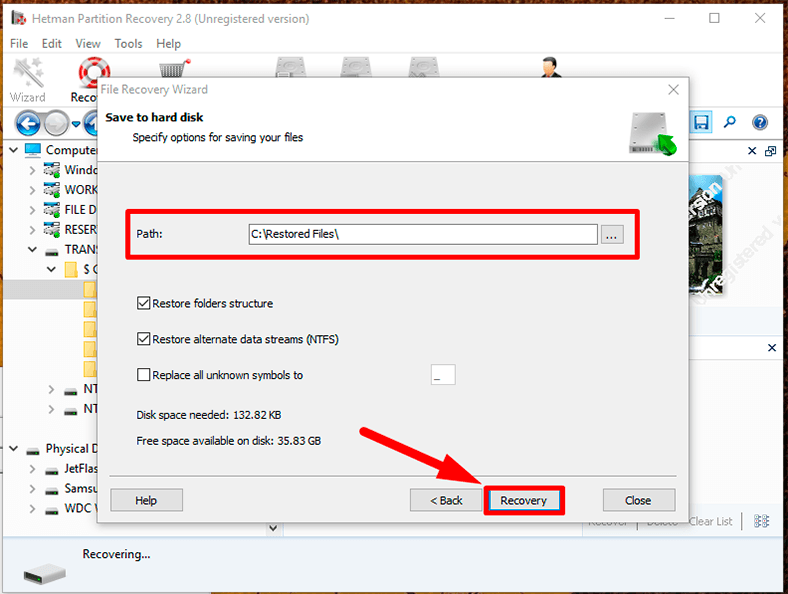 Hetman Partition Recovery. Give the path to save the files and specify several settings depending on the saving method you have chosen.