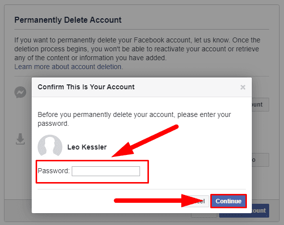 Facebook. You have to confirm it is your account by entering your password.