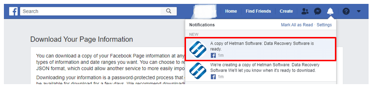 Facebook notification that the archived file is ready for download