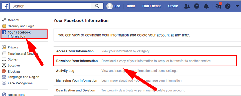 Facebook. Download Your Information