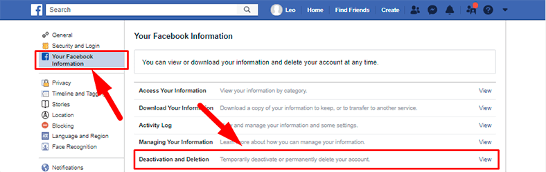 Facebook. Deactivation and Deletion