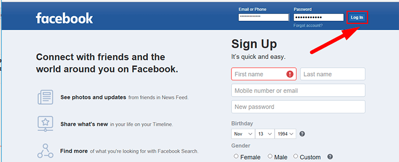Facebook. Log in to your account using the corresponding button.