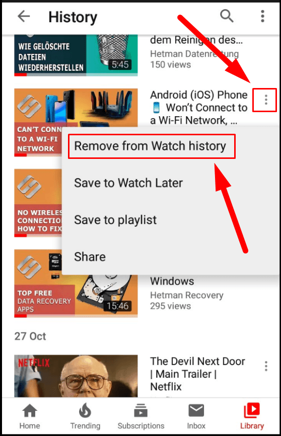 YouTube. Remove from Watch history