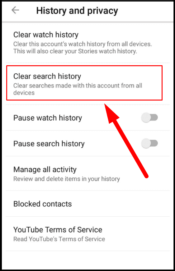 YouTube. Clear search history