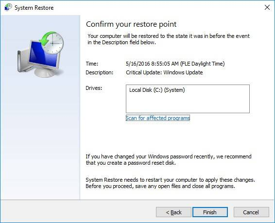 Confirm your restore point