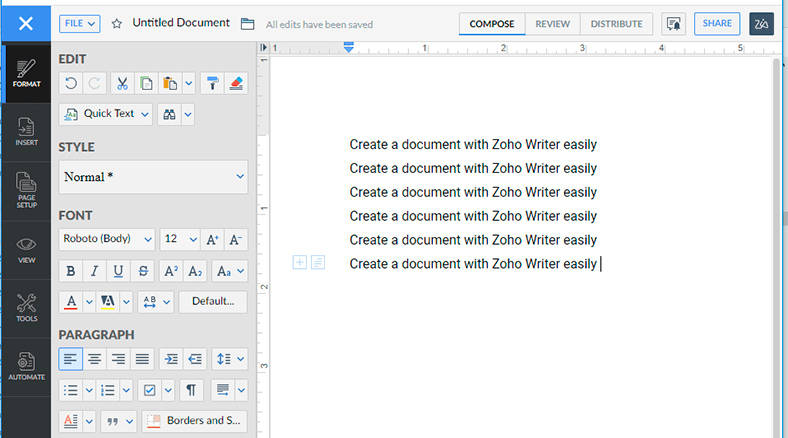 Zoho Writer Edit and View *.docx Files