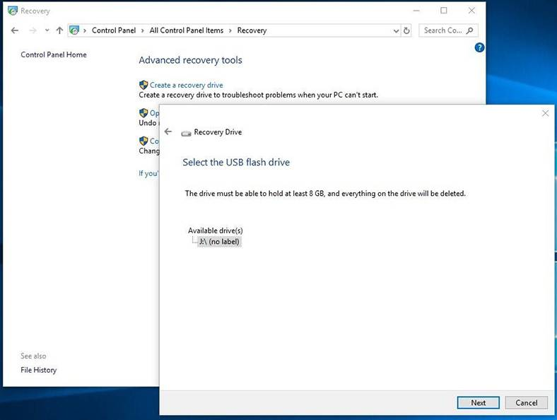 Windows 10 Create Recovery Drive