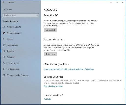 Windows 10 Settings Recovery Reset