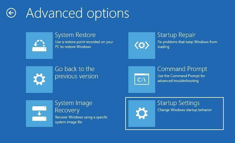 Windows 10 Restore Mode Startup settings