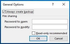 OneDrive General Options Always create backup