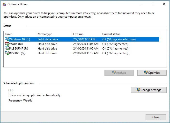 Run disk defragmentation