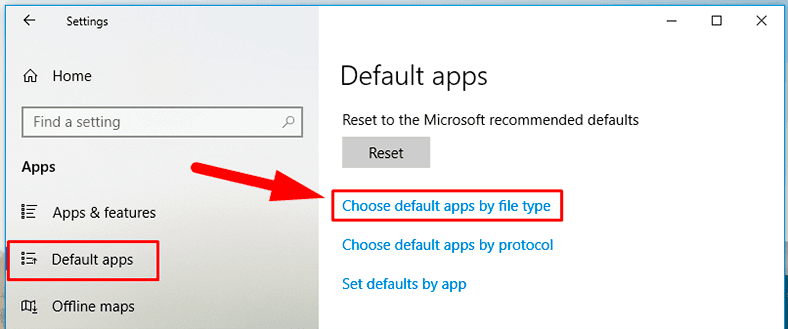 Choose default apps by file type