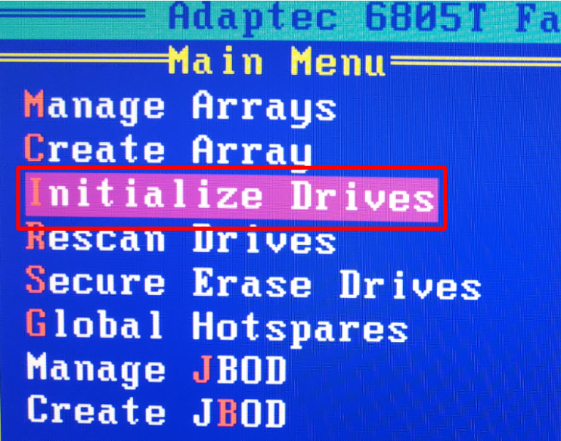 "Select ""Initialize Drives"" to initialize the disks."