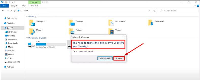 Windows Explorer suggests formatting the drive.