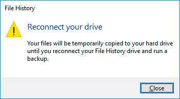 File History. Reconnect your drive