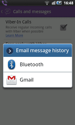 Viber. Email message history
