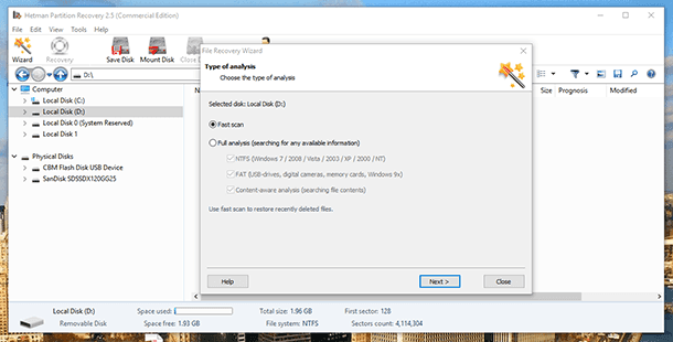 Hetman Partition Recovery. Scan the drive (media) from which Access files were deleted
