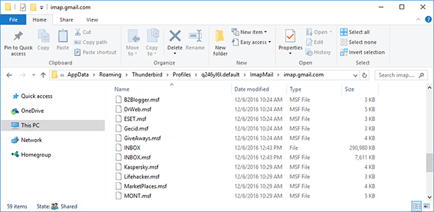 Mail and ImapMail folders
