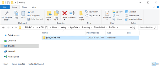 Folder containing your Thunderbird user profile C:UsersUserNameAppDataRoamingThunderbirdProfiles