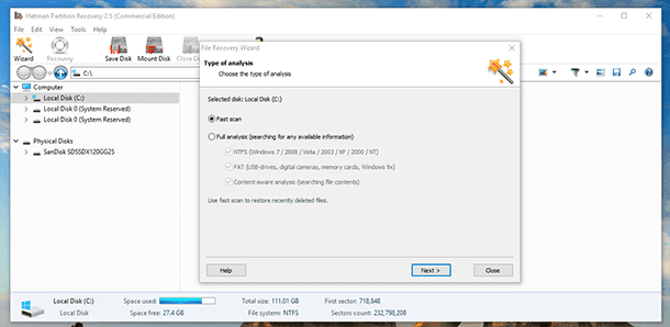 Hetman Partition Recovery. Scan the disk where you saved the Mozilla Thunderbird profile