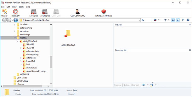 Hetman Partition Recovery. Go to the folder where your profile was saved in this computer.