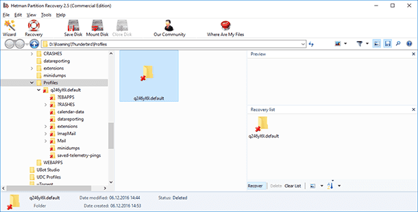 Hetman Partition Recovery. Recover the folder or the Thunderbird profile backup