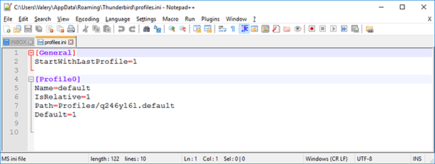 File profiles.ini with default data