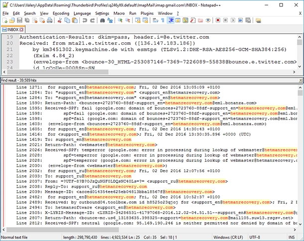 Searh in INBOX file
