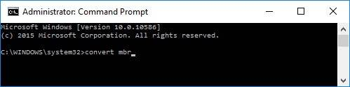 Command Prompt: convert-mbr