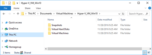 A folder with an exported virtual machine copy C:UsersPublicDocumentsHyper-VVirtual hard disks