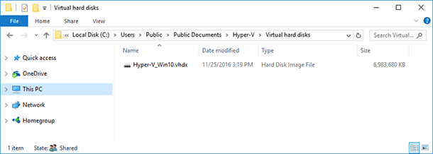 Hyper-V virtual disk file is saved to the folder C:\Users\Public\Documents\Hyper-V\Virtual hard disks