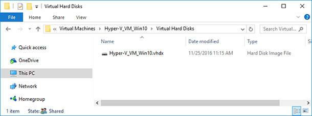 Virtual Hard Disks – the folder containing virtual machine disk files