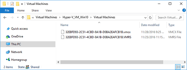 Virtual Machines – the folder containing virtual machine configuration files
