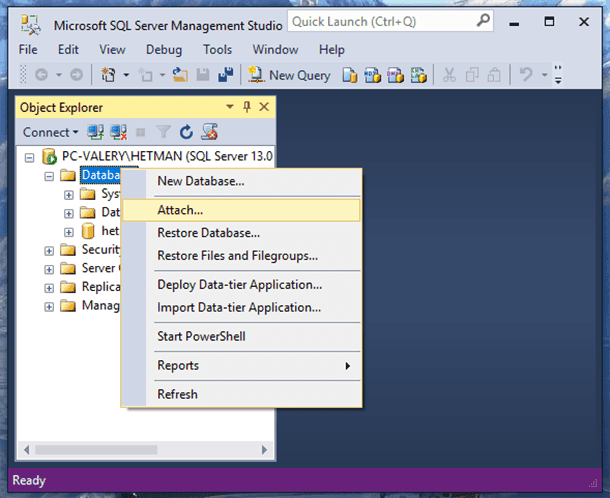Microsoft SQL Server Management Studio. Attach...