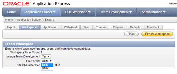 Oracle Application Express. Export Workspace