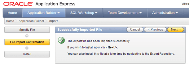 Oracle Application Express. Select the file to import and specify its type