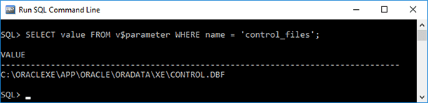 SQL Command Line. SELECT value FROM v$parameter WHERE name = 'control_files'