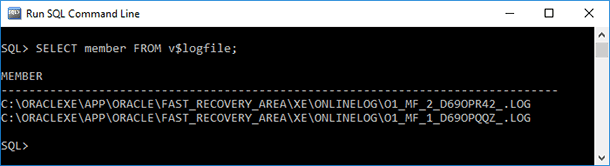 SQL Command Line. SELECT member FROM v$logfile